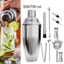1Pcs 550/750ml In Acciaio Inox Cocktail Shaker Da Cocktail Mixer Vino Martini Bere di Stile Boston Shaker Party Bar strumenti(China)