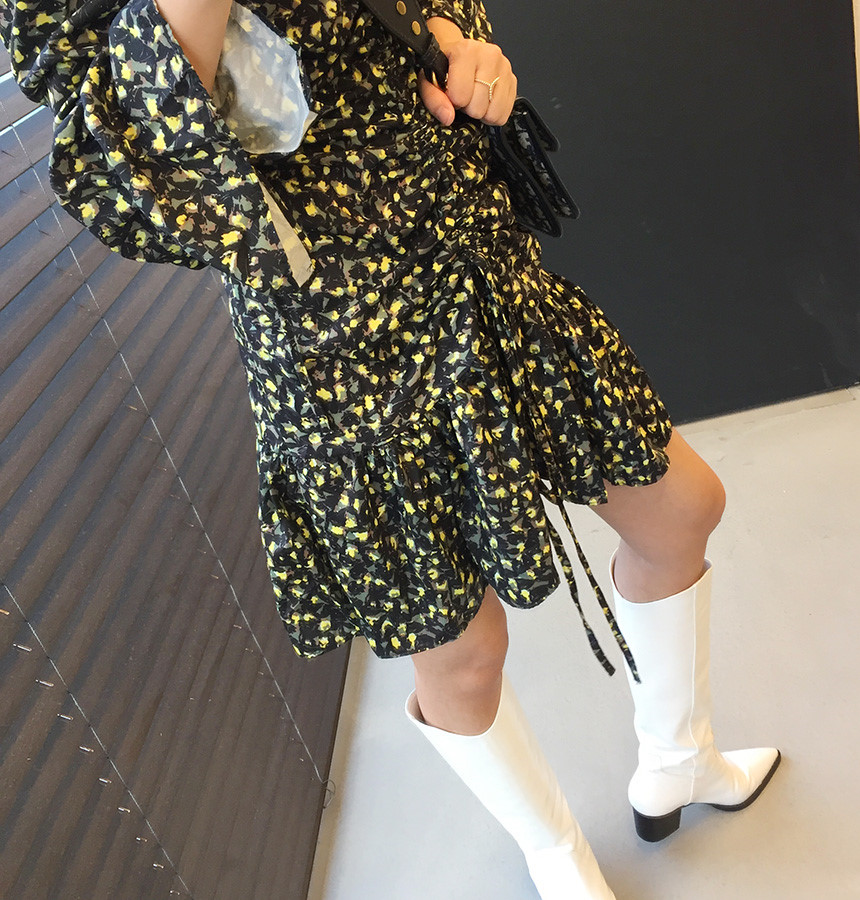 He925b63ea19f45cca39b94d0a7843e78u - Autumn V-Neck Flare Sleeves Drawstrings Floral Print Mini Dress