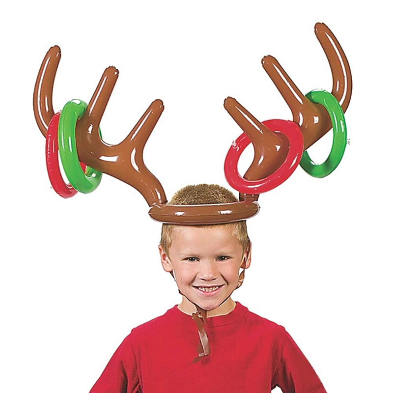 Kids Toy Inflatable Antler Deer Head Ring Santa Funny Reindeer Antler Wearable Animal Head Ring Christmas Party Throwing Circle