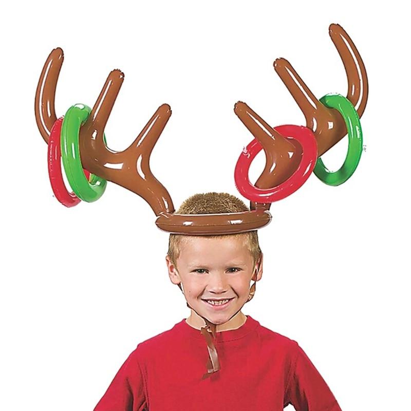 Kids Toy Inflatable Antler Deer Head Ring Santa Funny Reindeer Antler Wearable Animal Head Ring Christmas Party Throwing Circle
