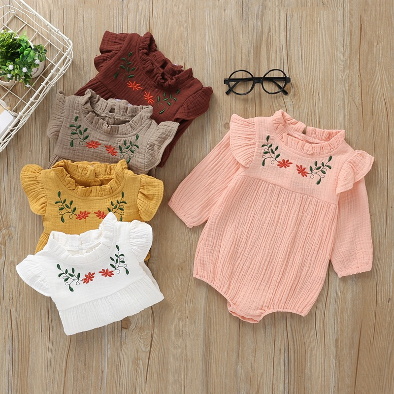 2020 New Spring Baby Girl Clothes Top Quality Baby Rompers LongSleeve Flower Pure Cotton O-Neck Cute Newborn Baby Girls Clothes