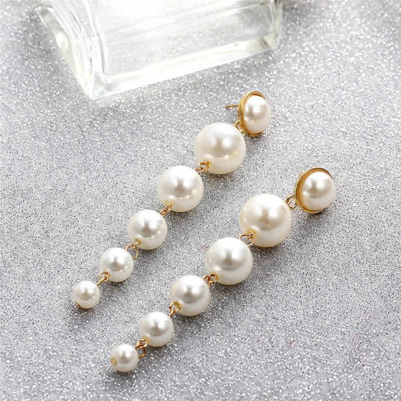 LETAPI ファッションゴールドロング模擬パール女性ガールビッグ幾何ラウンド新しい結婚式の宝石類