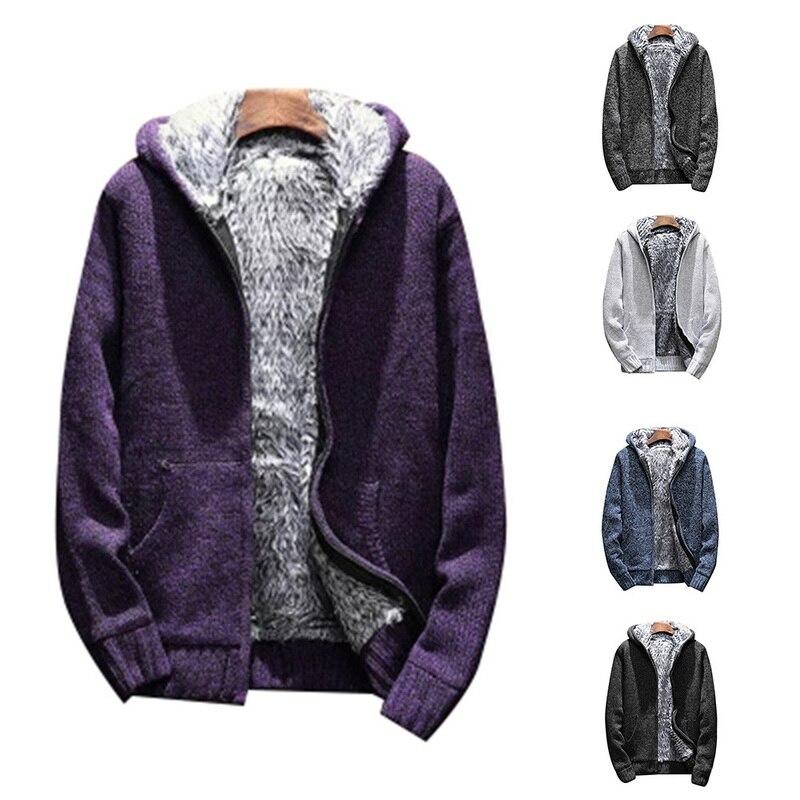 Men Warm Velvet Fleece Hooded Sweatshirts Fashion Autumn Hoodie Fur Inside Thick Solid Knitting Jackets Male Casual Pockets Coat