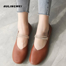Spring Women Flat Shoes Leather Casual Loafers Female Fashion Slip On Moccasins Mother Comfort Cuasul For