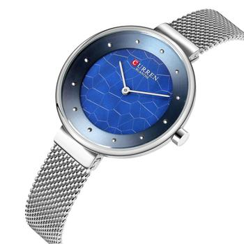 CURREN Women Watches Silver Stainless Steel 2019 Top Brand Modern Fashion Quartz Wristwatch Blue Dial Unique Relogios Waterproof