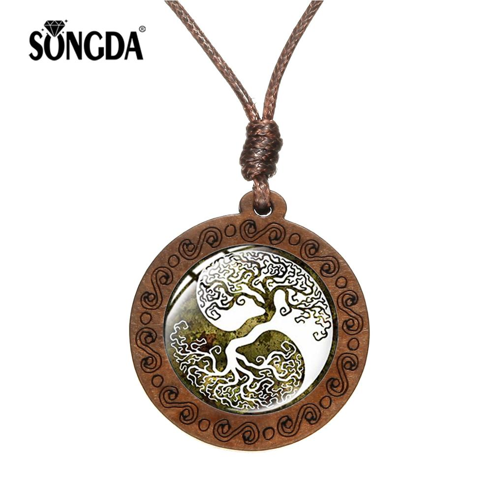 SONGDA 2019 Retro Tree of Life Yin and Yang Time Gem Wooden Pendant Necklace Tai Chi Bagua Spiritual Jewelry Gift for Men Women