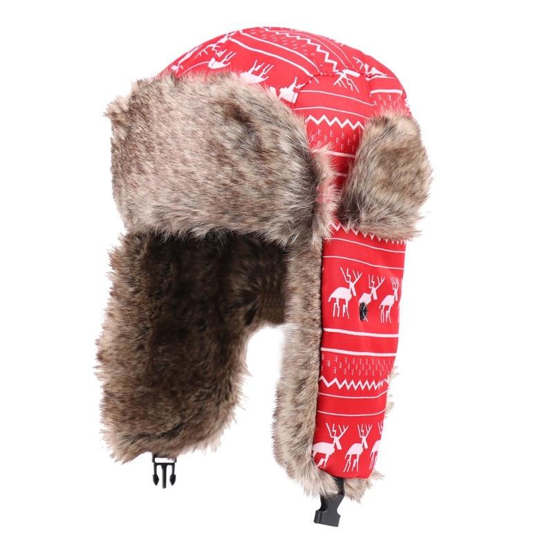 Women Mens Winter Ski Hats Faux Fur Bomber Hat WindProof Warm Cap Unisex EarFlap WindProof Thermal Hats Snow Hats Cap Lightweigt