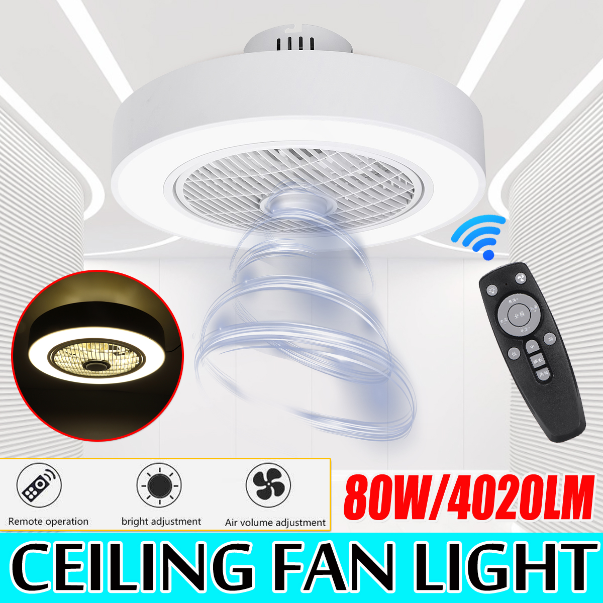 Modern Acrylic Light Ceiling Fan Lamp Remote Control Three-color Dimming Ceiling Fan Light White Decor Light For Home AC185-250V