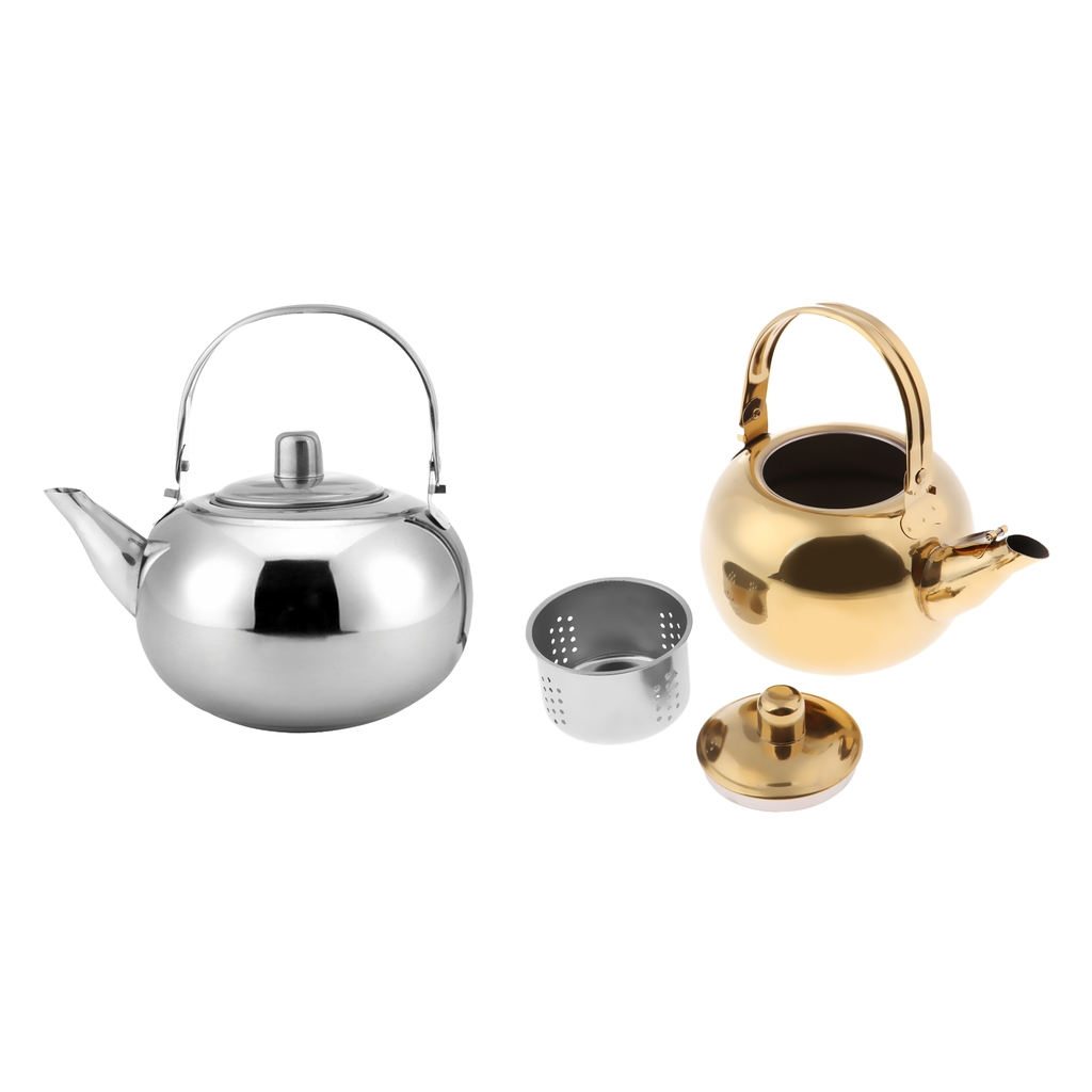 1000ml / 1500ml / 2000ml / 2500ml Durable Outdoor Camping Stainless Steel Tea Kettle Waterpot Silver/ Gold