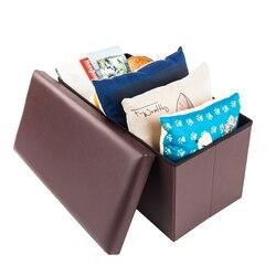 Przechowywanie skórzany stołek F 01L praktyczna skóra pvc kwadratowe sypialnia podnóżek brązowy oszczędność miejsca US Stock na