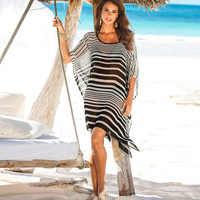Plage couvrir maillot de bain imprimé dames marcher sur la Plage Cape Robe de Plage tunique maillots de bain femme Saida de Praia