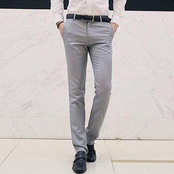 Костюмные брюки, мужские нарядные брюки, мужские деловые брюки, мужские 2020, модные мужские прямые брюки, одноцветные, подходят, Смарт класси...