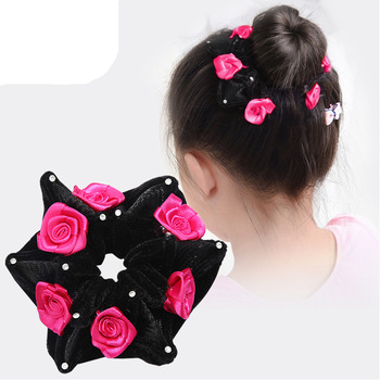 1Pc Hair Accessories Women Fashion Style Big Rose Flower Crystal Rhinestone Bands Elastic Rope Ring For Girls