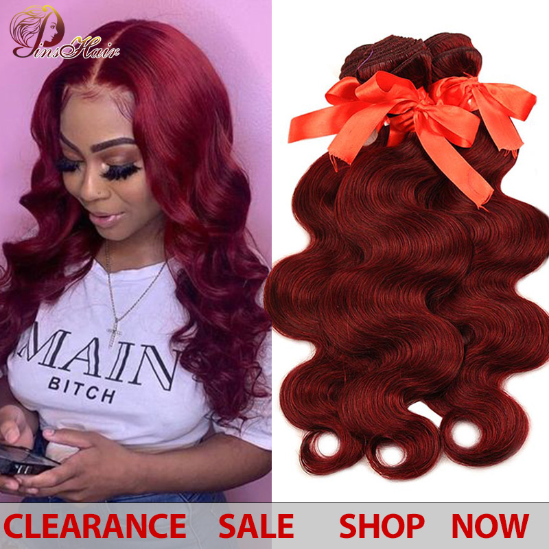 Burgundy Bundles Hair 99J Peruvian Body Wave Hair Red Bundles 3 Pcs Human Hair Weave Extensions Thick Bundles Non-remy Pinshair