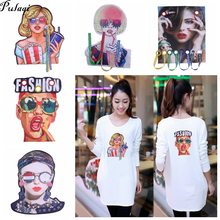 3D Diy T-shirt Patches Big Stickers Hot Cartoon Printing Pearl Letter  stripes on clothes Appliques For Clothes Fashion Lady H