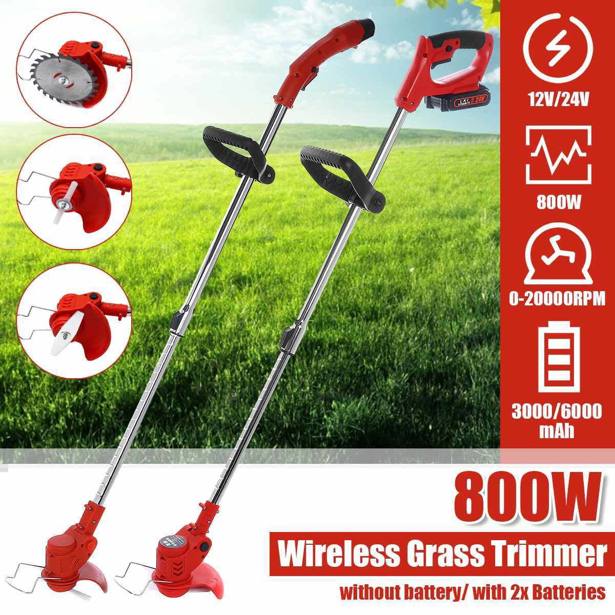 12 24V Cordless Electric Grass Trimmer with 3000 6000mAh Battery Adjustable Lawn Mower Home Push Lawnmower Garden Power Tool