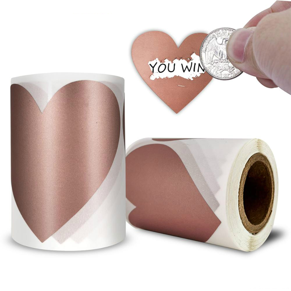 100Pcs Heart Shape Rose Gold Scratch Off Stickers for Custom Game Party Decoration Activity Sticker Kids Gift Wedding Decoration