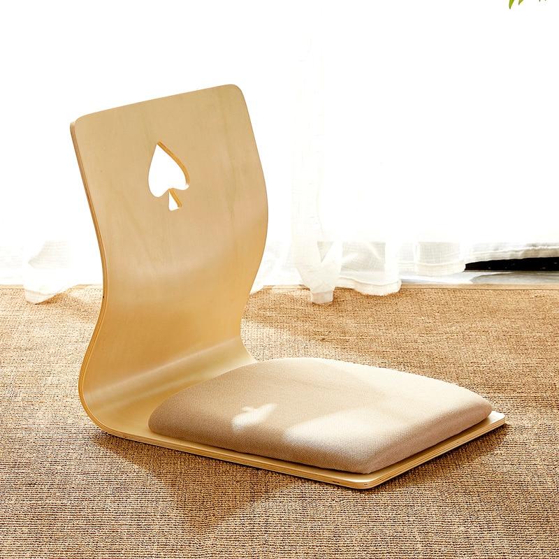 4pcs/lot 2020 New Design Japanese Legless Zaisu Chair Beige Cushion Seat Living Room Furniture Asian Tatami Floor Chair Wood