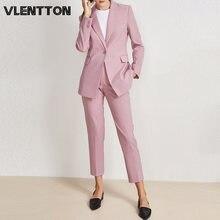 Женский офисный костюм из двух предметов розовый синий пиджак