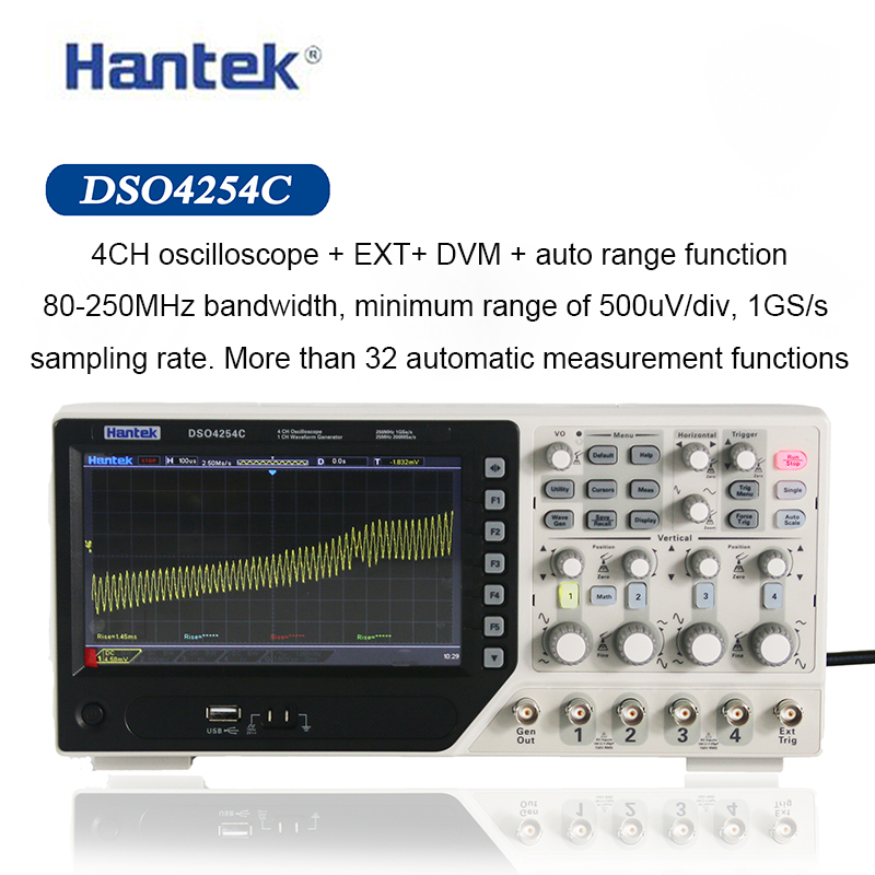 Hantek Digital Oscilloscope DSO4254C 4 Channels 250Mhz Bandwidth LCD PC Portable USB Oscilloscopes 1GS/s Sample Rate image