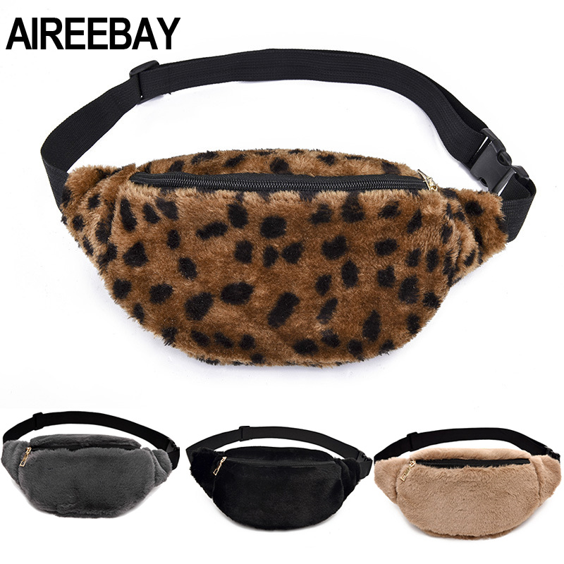 AIREEBAY 2019 Autumn Winter Style Women Waist Bag Female Imitation Fur Fanny Pack Designer Fashion Faux Fur Leather Bum Bag