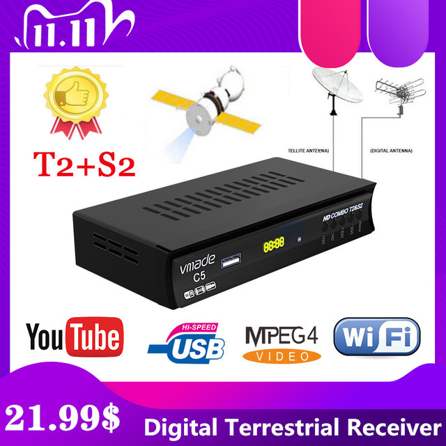Лидер продаж, спутниковый цифровой декодер в европейском и русском стиле, Full HD TV DVB T2S2, комбинированный декодер, приемник с поддержкой Youtube, usb, Wi Fi, PVR