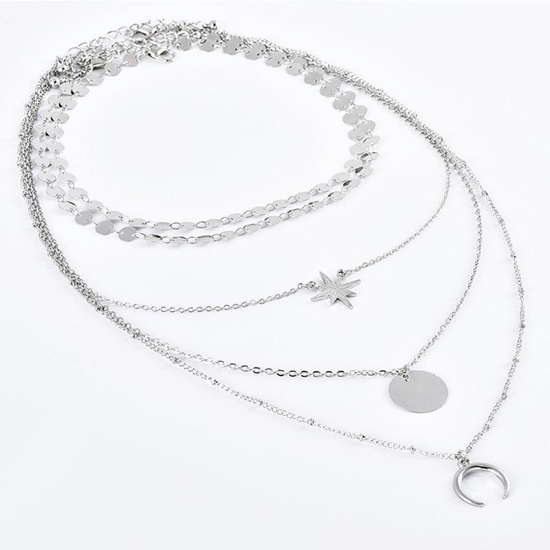 5Pcs/Set Women Necklaces Bohemian Retro Stars Moon Rounds Geometric Pendant Multilayer Silver Color Necklace Party Charm Jewelry