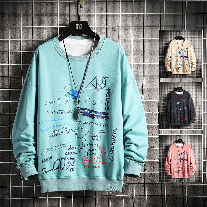 Spring street printing round neck sweater men's plus fat XL tide brand loose youth long-sleeved T-shirt bottoming shirt