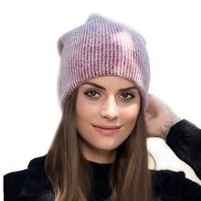 купить new simple Rabbit fur Beanie Hat for Women Winter hat for children Skullies Warm Gravity Falls Cap Gorros Female Cap по цене 317.19 рублей