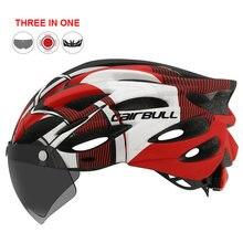 Casco para bicicleta de montaña, protector de cabeza para uso exterior, con luz trasera integrada, visor y lentes TT para ciclismo deportivo