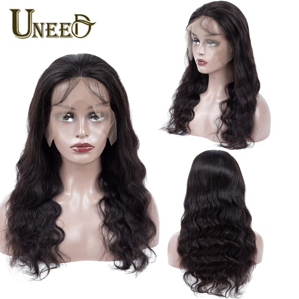 Image 4 - Uneed Body Wave 13x4 Lace Front Human Hair Wigs For Women Pre Plucked Peruvian Remy Hair Wigs Bleached Knots Baby Hair-in Human Hair Lace Wigs from Hair Extensions & Wigs