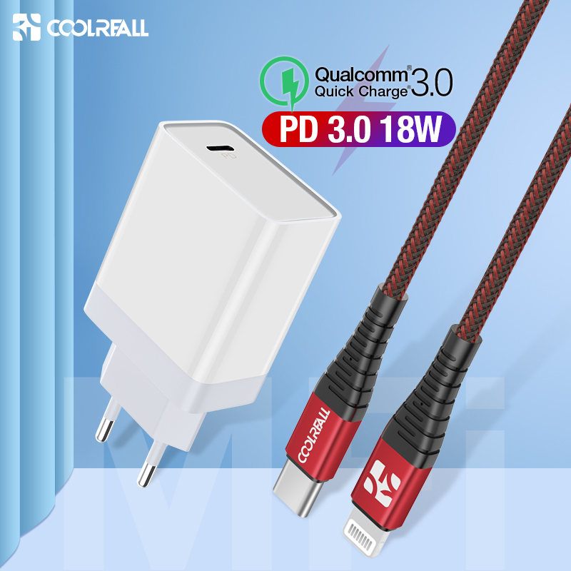 Coolreall 18W Quick Charge 3.0 Charger USB Type C Fast Charger For IPhone X Xs Xr 8 Phone