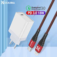 Coolreall 18W Quick Charge 3.0 Charger USB Type C Fast Charger For iPhone X Xs Xr 8 Phone PD Charger For Huawei Samsung Xiaomi