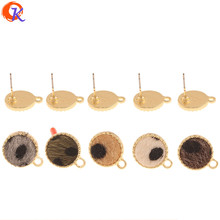 Cordial Design 100Pcs 12*15MM Jewelry Accessories/Hand Made/Earrings Stud/Coin Shape/Leopard Print Effect/DIY/Earring Findings