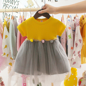 2020 New Fashion Spring Dresses Toddler Kids Baby Girls Patchwork Tulle Casual Clothes Princess Dresses 0-2years Girl Clothes