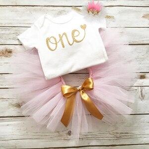 1 Year Old Birthday Party Baby Girl Dress Newborn Baby Girl Christening Gown Romper+tutu Dress+Headband Infant Girl Clothing
