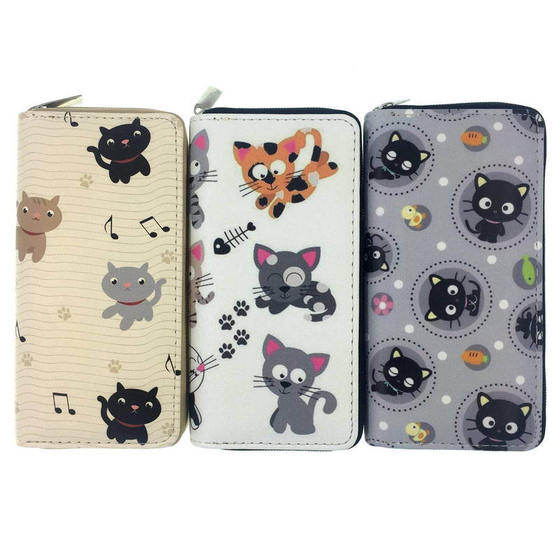 KANDRA New Women Wallets Cat Print Cartoon Purse Long Ladies Clutch Phone Pocket PU Leather Women's Card Holder Coin Purse 2019