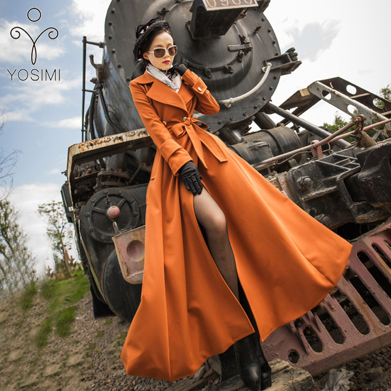 YOSIMI 2019 Autumn Winter Maxi Coat Women Wild Long Trench Coat <font><b>Belt</b></font> Turn-down Collar Skirt Stlye Large Size S-<font><b>XXL</b></font> Windbreaker image