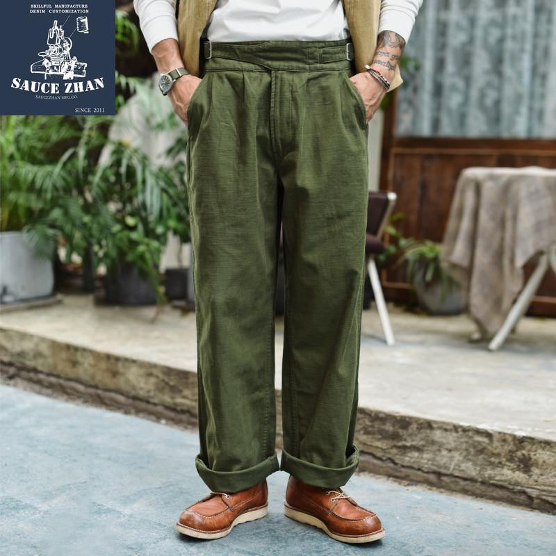 SauceZhan Gurkha Pants Army Pants OG-107 Fatigue Pants Classic Military Pants Olive Sateen Wide Leg Pants & Capris Casual Pants