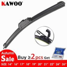 Kawaio – essuie-glace universel pour voiture, avec crochet en J souple, sans support, en caoutchouc, pour pare-brise de voiture, 14