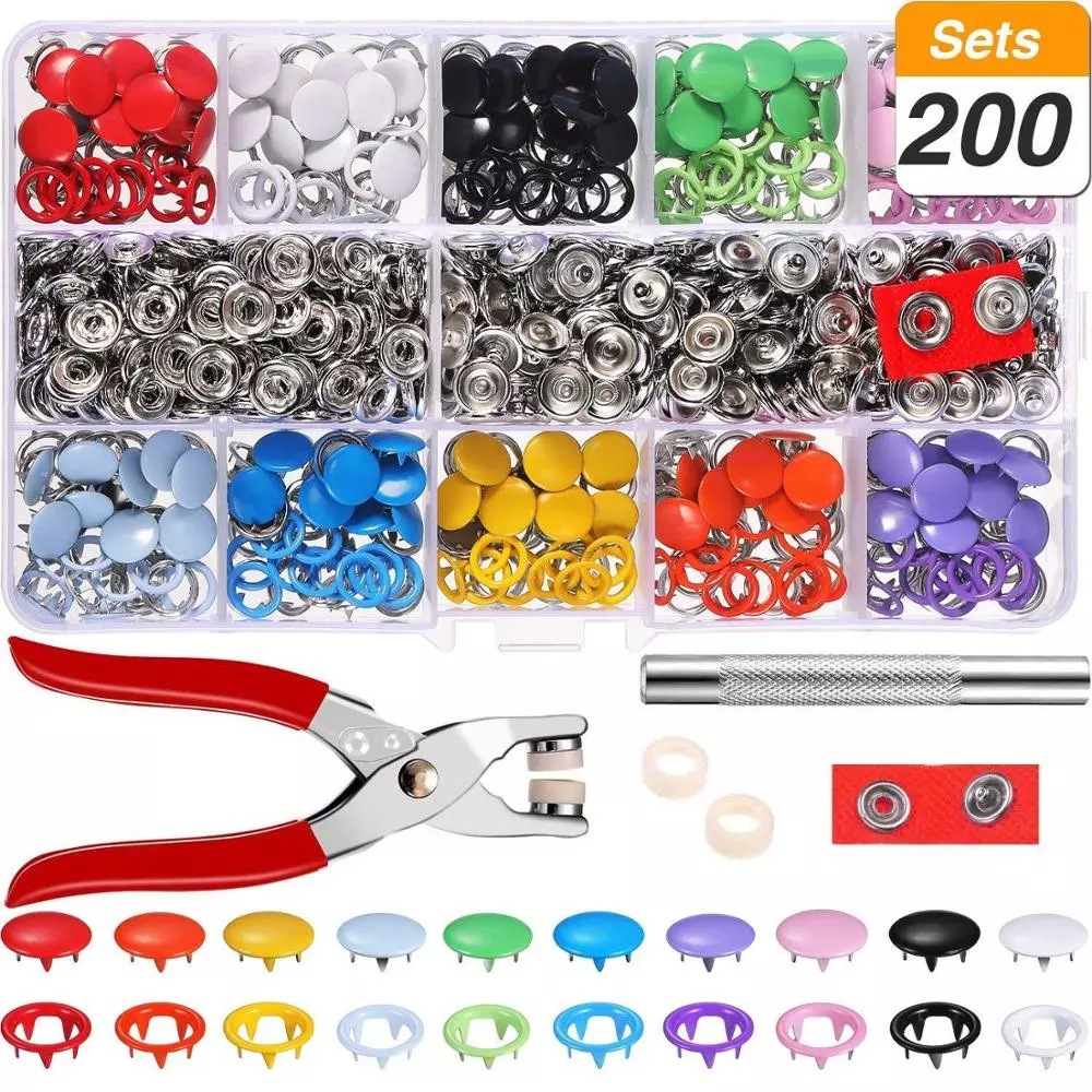 Plier Tool + 100/200 Sets 10 Colors Metal Sewing Buttons Hollow Solid Prong Press Studs Snap Fasteners for Clothes Bags