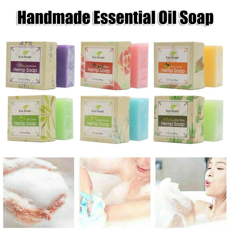 6 Pcs Handmade Hemp Oil Soap Skin Care Revitalizing Scent With Tea Tree Rose Lavender HJL2019