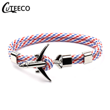 CUTEECO 2019 New Fashion Airplane Anchor Bracelets Men Air Force Style Charm Rope Wrap Paracord Bracelet Male Jewelry Metal Hook cuteeco anchor bracelets charm chain rope metal bracelet anchor male gift hooks jewelry fashion golden bracelet men shark