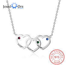 Personalized Intertwined Hearts Necklace with Birthstone Custom Name Engraved 925 Sterling Silver Pendants (JewelOra NE102402)