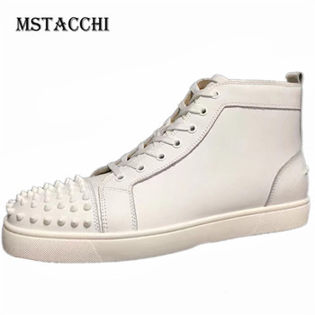 MStacchi Solid Rivet Men Leisure Shoes Simple Style Breathable Lace-Up High Gang Male Sneakers Fashion Comfortable Men Footwear