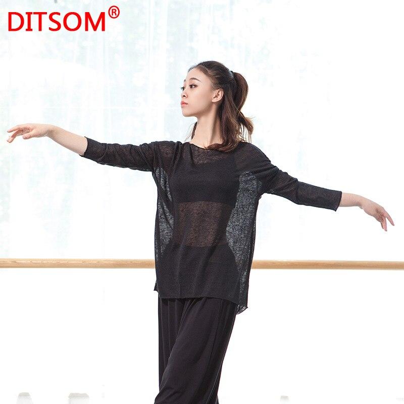 Loose Fit Shirt Women Dance Blouse Irregular Hem Solid Baggy Shirts Ballet Dance Shirt Training Shirt Exercise Clothes Free Size