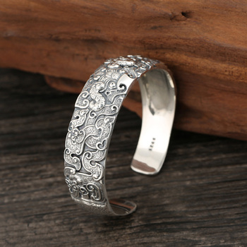 19MM Wide Cuff Bangles for Men Dragon Carved Ethnic Open Bangle 925 Sterling Silver Buddhism Jewelry