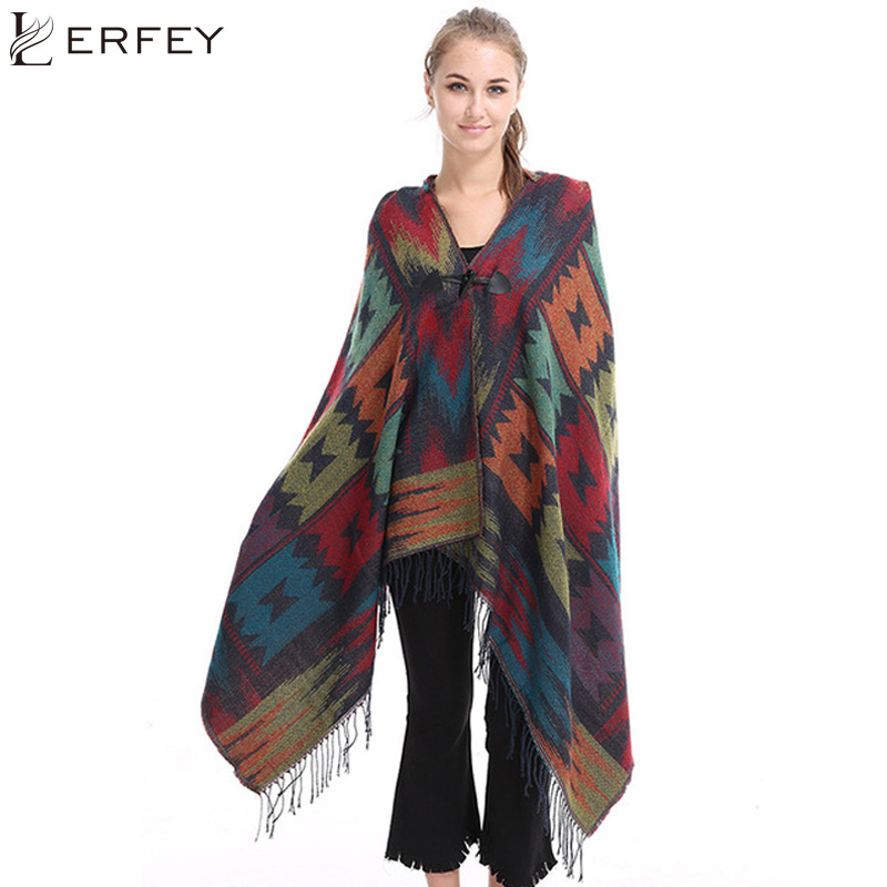 LERFEY Ethnic Geometric Women Batwing Cape Poncho Knit Tops Cardigan Sweater Coat Autumn Scarf Shawl Fringe Hooded