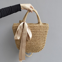 2020 Women's Bag, Straw Woven Bag, One Shoulder, Hand-held Women's Bag, Beach Woven Straw Bag, Bow Art Bag Channels Handbags dusun summer hand woven straw bag ribbons bamboo package weaving bohemian holiday beach bag bow hollow female causal box totes