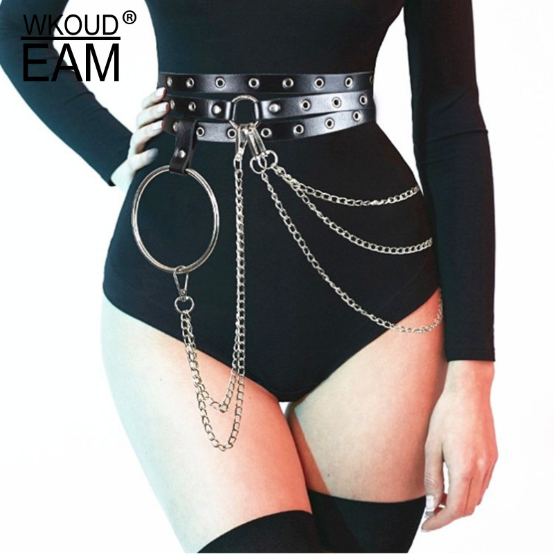WKOUD EAM 2020 New Metal Chain Hollow Out Leather Belt Women Fashion Sexy Corset Belt Trendy PU Waistband Tide PE460